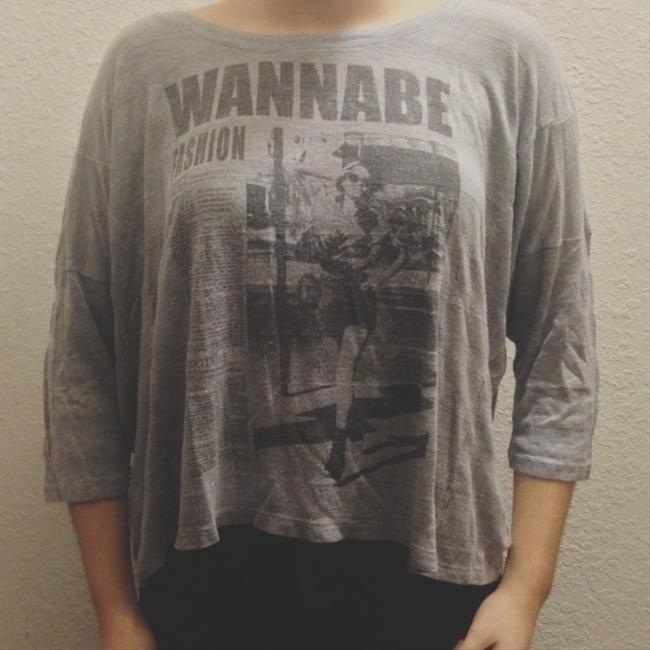 Forever 21 Newspaper Top Grey