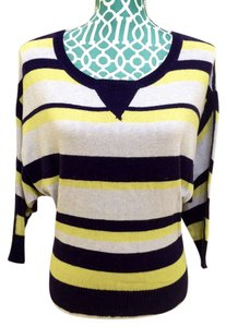 Pandemonium Knit Striped Nav Blue Cotton 3/4 Sleeve Sweater