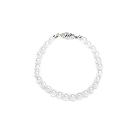 Mariell White/Silver Single Strand 6mm Pearl 182b-w-s Bracelet
