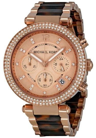 Michael Kors Michael Kors Rose Gold Crystal Bezel Tortoise Shell Chronograph Ladies Watch
