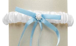 Mariell White Satin Bridal Tossing Garter with Blue Ribbon & Pearls 3769G-W-BL