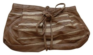 R&Y Augousti Embroidered Leather Taupe Clutch