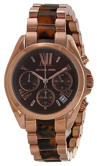 Michael Kors Michael Kors Brown Dial Rose Gold-tone and Tortoiseshell Acetate Ladies Watch