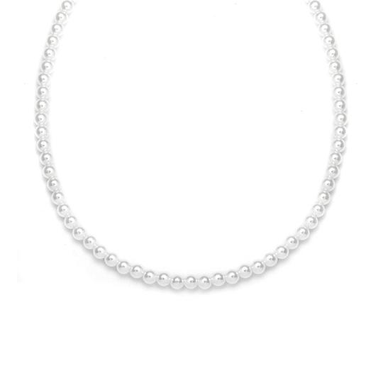 Mariell White/Silver Single Strand 4mm Pearl 228n-14-wh-s Necklace