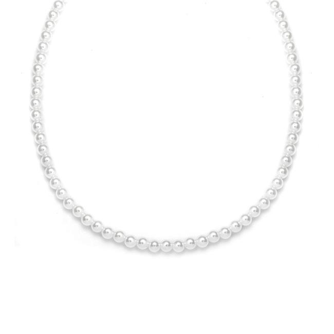 Item - White/Silver Single Strand 4mm Pearl 228n-14-wh-s Necklace