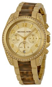 Michael Kors Michael Kors Chronograph Champagne Dial Gold-tone Tortoise-shell Ladies Watch
