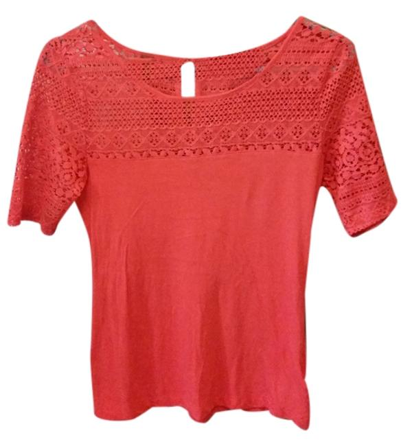 Forever 21 Cotton Casual T Shirt Scarlet