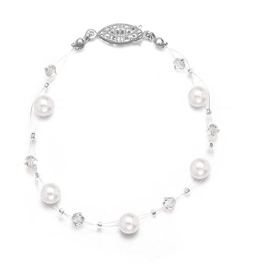 Mariell White Pearl Crystal Bridesmaids Illusion Bracelet 234b-w-cr-s Necklace