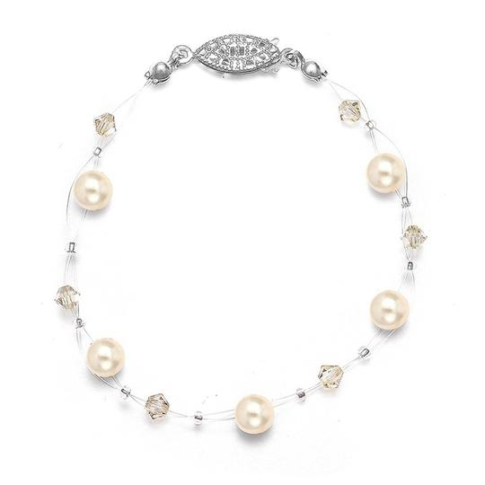 Mariell Ivory Pearl Crystal Or Bridesmaids Illusion Bracelet 234b-i-cr-s Necklace