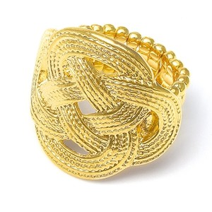 Mariell Low Sale Price Braided Gold Stretch Ring 3112r-g