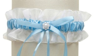 Mariell White Organza Something Blue Wedding Garter with Pearl Daisy 3767G-W-BL