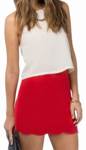 Tobi Mini Scalloped Mini Skirt Red