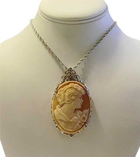 "Other .925 Sterling Silver Italian ""Lady"" Cameo Enhancer with 17' Chain"