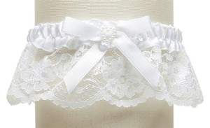 Mariell White Lace Wedding Garter with Satin Band with Pearl Heart 3768G-W