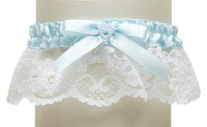 Mariell White Lace Something Blue Wedding Garter with Pearl Heart 3768G-W-BL