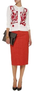 L'Wren Scott Pencil Tweed Midi High Waist Retro Skirt Red