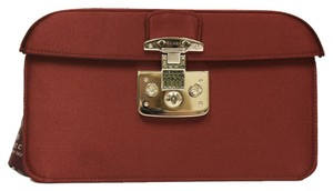 Gucci Satin Lady Lock Luxury Classic Red Clutch