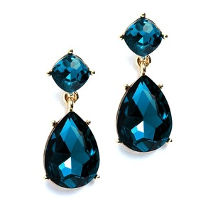 Mariell Dark Teal Drop Earrings For Prom Or Bridesmaids 4292e-dt-g