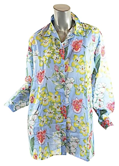 Preload https://item5.tradesy.com/images/light-blue-wmulti-color-floral-print-fine-cotton-orchid-bd-os-nwot-blouse-size-os-one-size-3922639-0-0.jpg?width=400&height=650