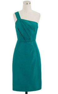 J.Crew Peacock Green Taffeta Lucienne In Silk Formal Bridesmaid/Mob Dress Size 6 (S)