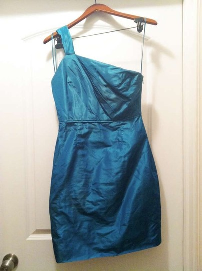 J.Crew Peacock Green Taffeta Lucienne In Silk Formal Bridesmaid/Mob Dress Size 6 (S) Image 1