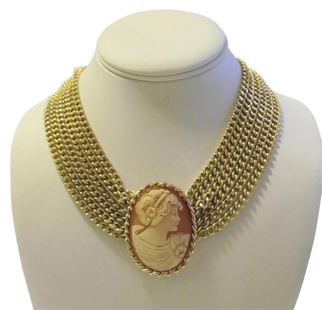 "AMEDEO Brass/Goldtone ""Tatiana"" Multi Chain Cameo Necklace AMEDEO Brass/Goldtone ""Tatiana"" Multi Chain Cameo Necklace Image 1"