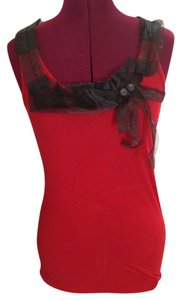 DKNY Cotton Casual Career Top Red and Black