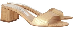 Oscar de la Renta Metallic Cork Gold Sandals
