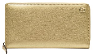 Gucci Gucci Gold Leather Zip Around Wallet