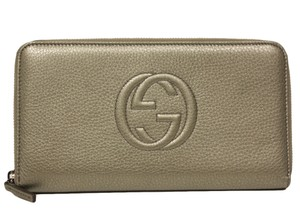 Gucci Gucci Soho Oversized Gray Leather Zip Around Wallet
