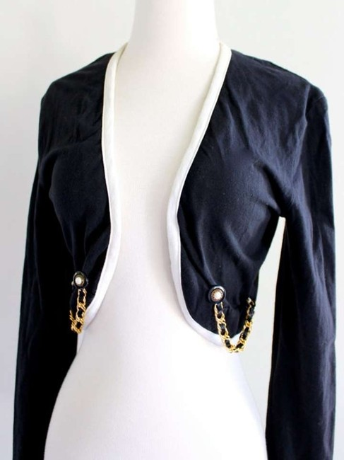Contempo Casuals Cardigan Chain Design Sweater Dark Navy Jacket
