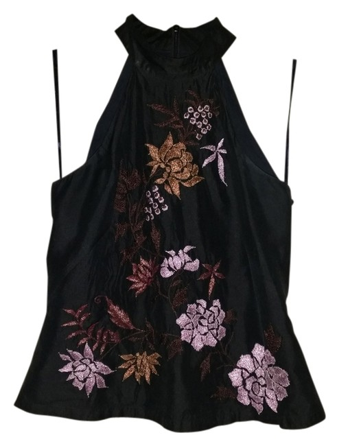 Other Top Black with embroidered flowers