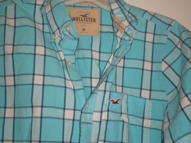 Hollister Button Down Shirt Turquoise check