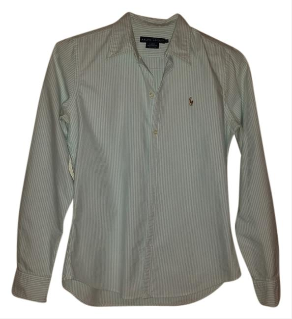 Ralph Lauren Button Down Shirt Turquoise and white