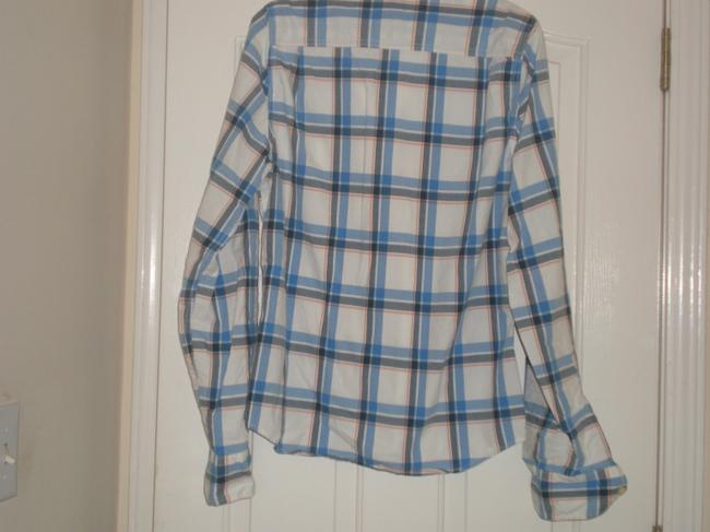 Abercrombie & Fitch Button Down Shirt Blue, gold, white check