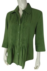 Toni Morgan Polyester Textured 3/4 Sleeves Pintuck Pleats Peasant Button Front Shirt Bamboo Top Green