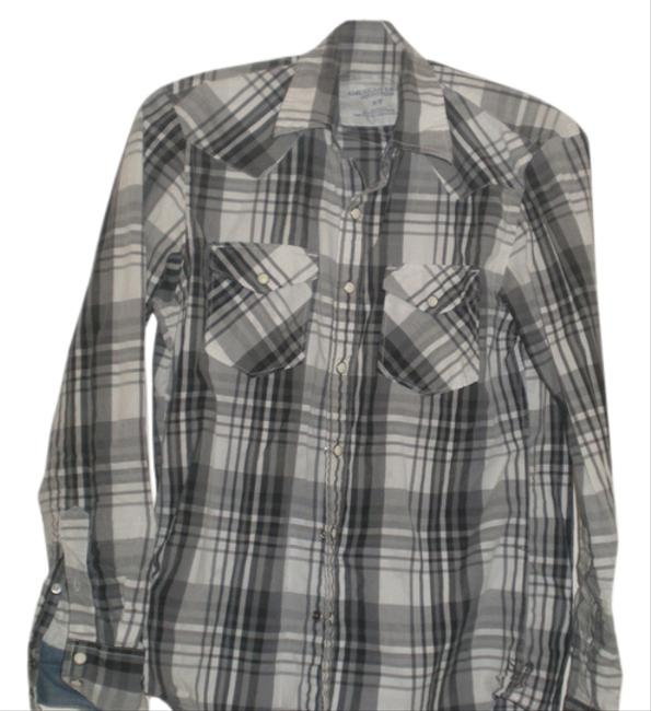 American Eagle Outfitters Button Down Shirt Black/white check