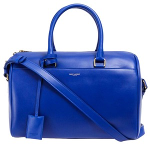 Saint Laurent 6 Hour Calfskin Leather Casual Satchel in Blue