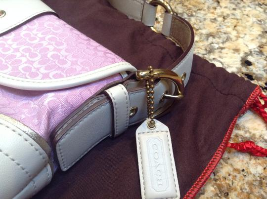 Coach Gold Pink White Leather Hobo Bag
