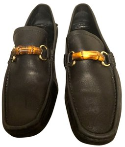 Gucci Men's Bamboo Leather Horsebit Drivers Loafers Designer Black Flats