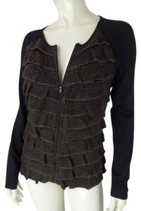 Alex Marie Small Wool Blend Cardigan Zip Front Long Sleeves Tiered Ruffles Chic Sheer Soft Lightweight Sweater