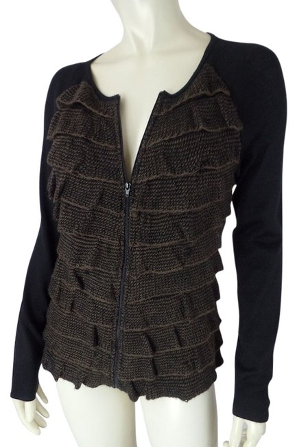 Preload https://img-static.tradesy.com/item/3925696/alex-marie-black-and-brown-small-zip-front-cardigan-tiered-ruffles-acrylic-wool-blend-sweaterpullove-0-0-650-650.jpg