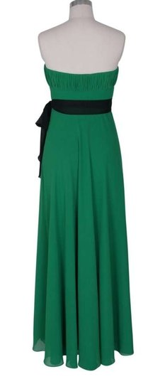 Green Chiffon Strapless Long Pleated Bust W/ Sash Formal Bridesmaid/Mob Dress Size 2 (XS)