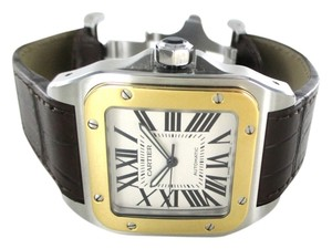Cartier CARTIER SANTOS100 WATCH WRISTWATCH GENTS 2656 BRAND NEW LEATHER BAND GOLD STEEL