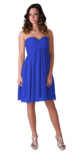Blue Chiffon Strapless Sweetheart Pleated Feminine Bridesmaid/Mob Dress Size 2 (XS)