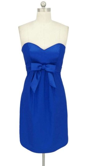Blue Satin Sweetheart Bow Size:med/Lrg Feminine Bridesmaid/Mob Dress Size 8 (M)