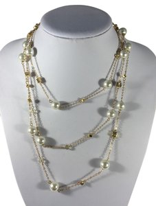 Long Pearl And Gold Necklace
