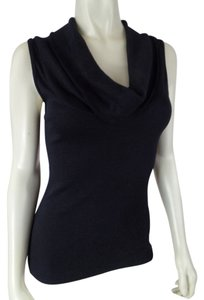 Anthropologie Medium Cowl Neck Cotton Nylon Stretch Knit Sleeveless Sext One Size Top Black Specked