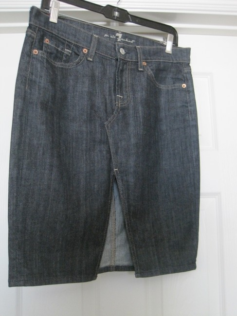 7 For All Mankind Skirt dark denim blue Image 2