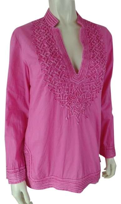 Pink S Cotton Decorative Applique V-neck Boho Tunic Size 4 (S) Pink S Cotton Decorative Applique V-neck Boho Tunic Size 4 (S) Image 1